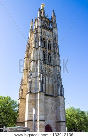 Pey Berland Tower the bell tower of the St. Andrew Cathedral in Bordeaux France