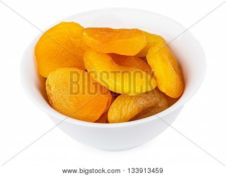 Dried Apricots In Glass Bowl Isolated On White