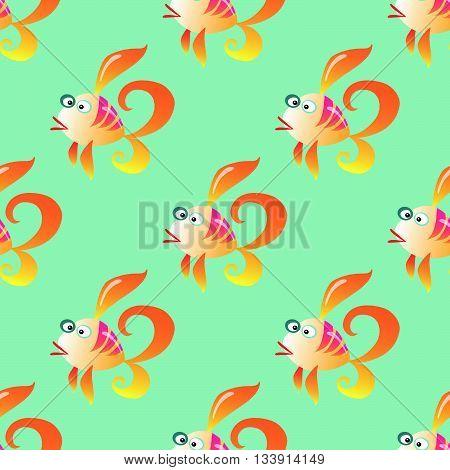 Goldfish marine seamless pattern background. Ocean animals vector