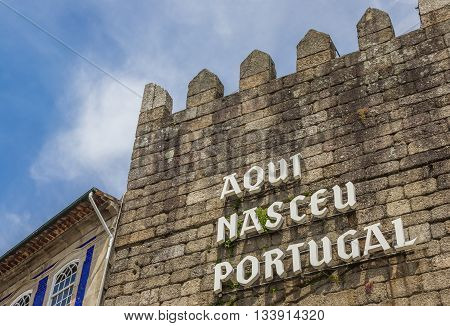 Text Portugal Was Born Here On The City Wall