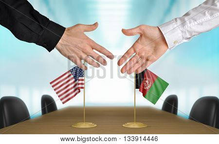 United States and Afghanistan diplomats shaking hands to agree deal, part 3D rendering