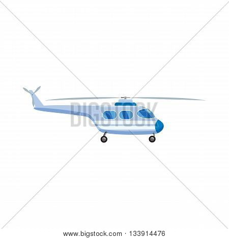 Blue helicopter icon in cartoon style isolated on white background. Aircraft symbol