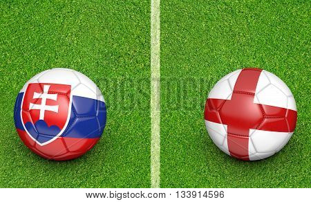 Team balls for Slovakia vs England football tournament match, 3D rendering
