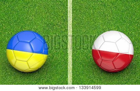 Team balls for Ukraine vs Poland football tournament match, 3D rendering