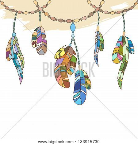 Hand-drawing feathers and chaplets seamless border in ethnic aztec bohemian style.Vector.