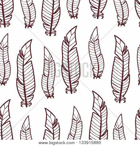 Seamless pattern of hand-drawing feathers. Design with ethnic doodle bohemian style elements. Vector.