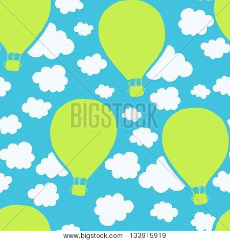 Air balloons seamless pattern kiddy design. Repeating pattern of flying balloons. Vector.