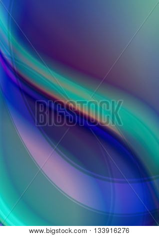 Abstract greenish purple iridescent background with orange and blue curve