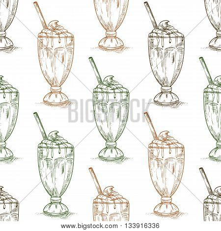 Seamless pattern chocolate milkshake scetch. Sketched fast food vector illustration. Background with drink for cafe, restaurant, eatery, diner, website or take away bag design