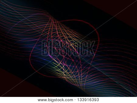 Is twisted into the pipe shimmering radiant lines on a black background