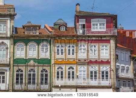 Colorful houses in the historical center of Guimaraes Portugal