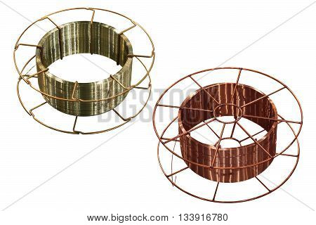 copper and steel welding wire on white background