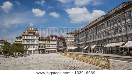 GUIMARAES, PORTUGAL - APRIL 26, 2016: Largo do Toural square in central Guimaraes, Portugal