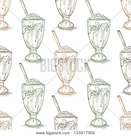 Seamless pattern vanilla milkshake scetch. Sketched fast food vector illustration. Background with drink for cafe, restaurant, eatery, diner, website or take away bag design