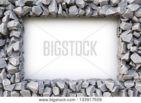 frame made of stones. isolated on white background. 3D illustration.