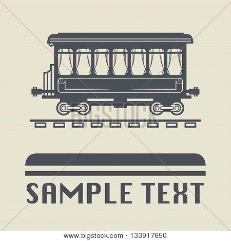 Rail Wagon icon or sign, vector illustration