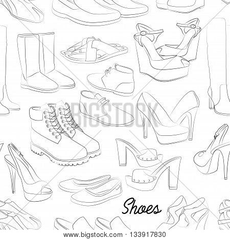 Shoes scetch pattern of different shoes for man and woman. Vector illustration, EPS 10