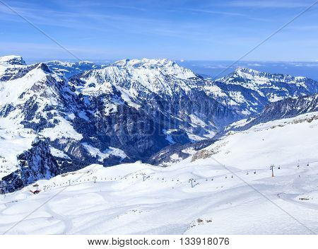 Alps view from Mt. Titlis in Switzerland in the beginning of spring.
