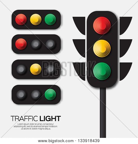Traffic light. Origami Red yellow green lights - Go wait or slow stop. Paper cut International Traffic Light's Day. Applique Vector design illustrations.