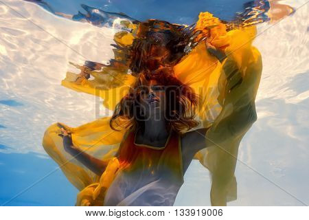 Underwater shoot of a relaxed  flying  woman