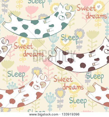 Cartoon Sleeping cow. Cute Hand Drawn seamless pattern