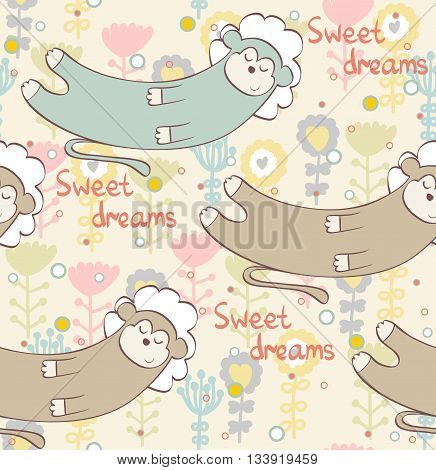 Cartoon Sleeping monkey. Cute Hand Drawn seamless pattern