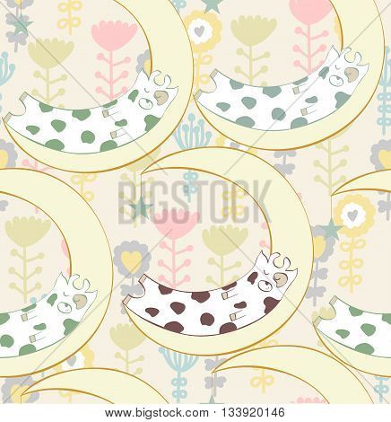 Cartoon Sleeping cow. Cute Hand Drawn seamless pattern