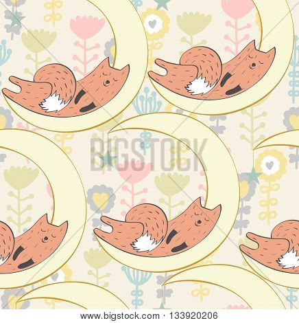 Cartoon Sleeping fox. Cute vector seamless pattern