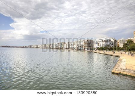 THESSALONIKI GREECE - March 17.2016: Boulevard along a municipal embankment in the center of city. Panorama.