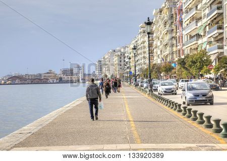 THESSALONIKI GREECE - March 17.2016: Boulevard along a municipal embankment in the center of city