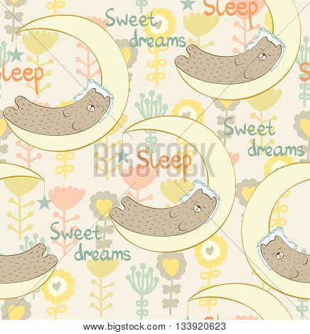 Cartoon Sleeping Bear. Cute vector seamless pattern