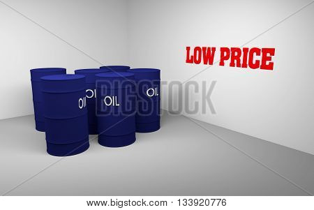 Several 3D blue drums/barrels and write text low price on the wall 3d rendering