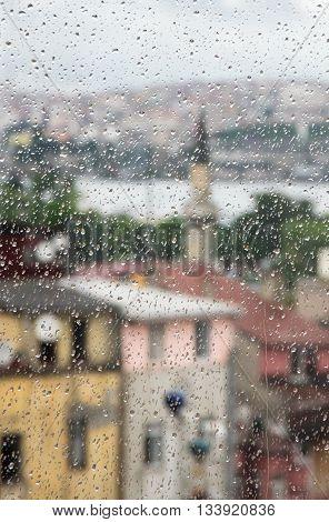 Rainy weather in Istanbul through the window Turkey