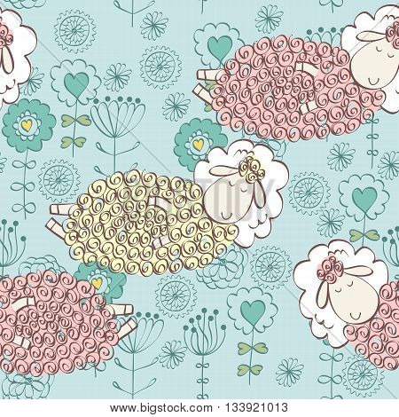 Cartoon Sleeping sheep. Cute Hand Drawn seamless pattern