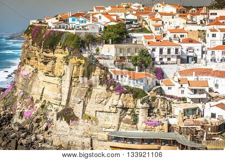 Azenhas do Mar white village landmark on the cliff and Atlantic ocean Sintra Lisbon Portugal Europe.