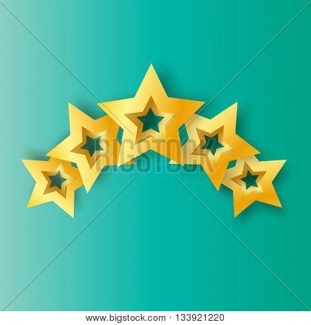 Five Realistic Origami 3D gold stars on a blue background. Award winner. 5 golden foil stars. Good job. Best reward. Choice. VIP. Premium class. Vector illustration design template