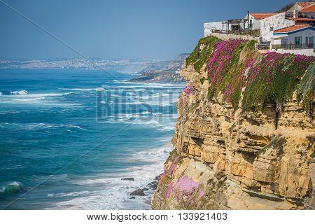Azenhas do Mar white village landmark on the cliff and Atlantic ocean Sintra Lisbon Portugal Europe.