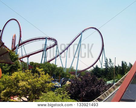 Amusement parks in southern Spain : Roller coaster .