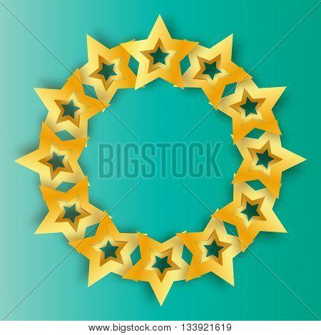Realistic Origami 3D gold stars on a blue background. Award winner.Golden foil stars. Good job. Best reward. Choice. VIP. Premium class. Vector illustration design template