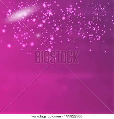 Vector infinite space. Purple background with glowing elements
