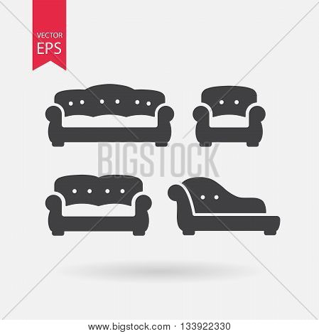 Furniture icons set. Vintage Sofa, Armchair, Chesterfield, Couch. Collection of retro armchair in flat design. Black silhouettes isolated on white background. Vector elements