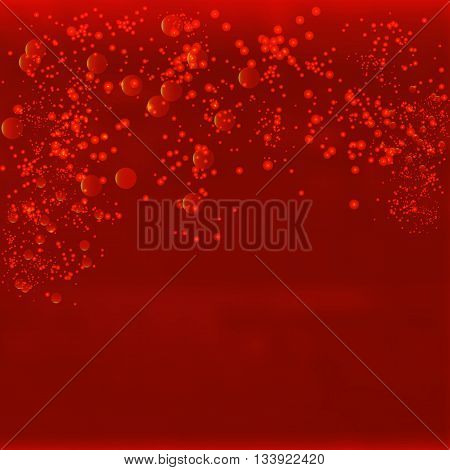 Vector infinite space. Red background with glowing elements