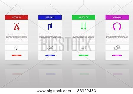 Modern and simple four steps timeline infographics. Four steps infographics with arrow set outline icons on grey gradient background with shadow and reflection. Bulb gear graph and coin icons on rectangle infographic.