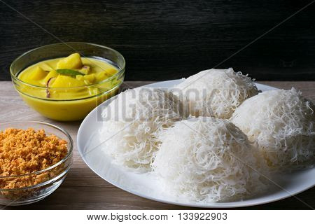 String Hoppers or indiappa Sri Lankan food in dark background