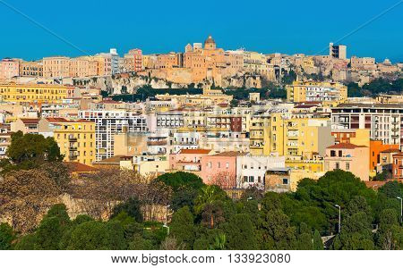 Cityscape with varicolored houses of historic center of the city of Cagliari, Sardinia island, Italy