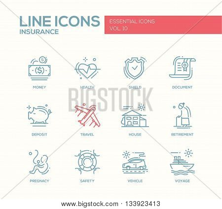 Set of modern vector simple plain line design icons and pictograms of types and kinds of insurance. Health, money, document, shield, deposit, travel, house, retirement, pregnancy, safety, vehicle, voyage