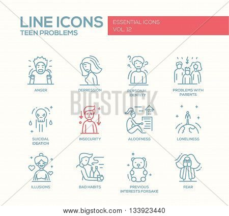 Set of modern vector plain line design icons and pictograms of teenager problems. Anger, depression, personal identity, problems with parents, insecurity, aloofness, loneliness, illusions, bad habits, fear
