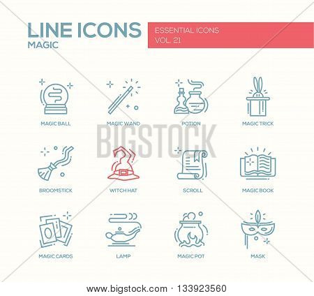 Set of modern vector simple line design icons and pictograms of magic and fairy tale elements. Wand, potion, trick, witch hat, broomstick, mask, lamp, cards, pot, scroll, book