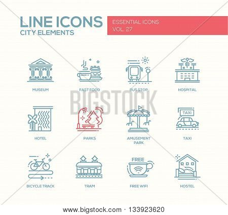 Set of modern vector plain line design icons and pictograms of city buildings and elements. Hotel, bus stop, museum, taxi, bicycle track, wifi zone, hostel, tram, hospital, fast food, parks, amusement park