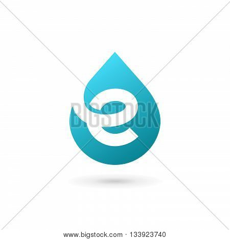 Letter E Water Drop Logo Icon Design Template Elements